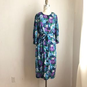 Vintage button down dress floral blue size:Large